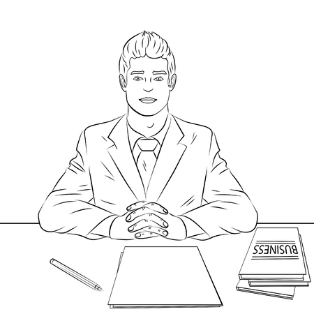 Färbung, schwarze Linien auf weißem Hintergrund. Geschäftsmann, Chef am Tisch, Empfangspersonal, Vorstellungsgespräch. Vektor