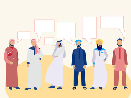 Set of six men, a group of Arabs in national dress. In minimalist style. Cartoon flat Vector text bubble thought Vettoriali