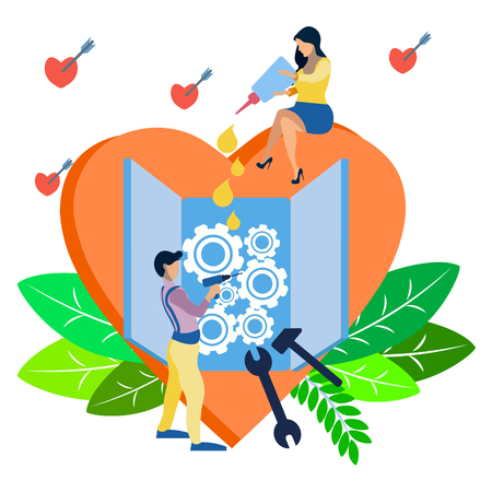 Valentines Day. Couple in love mending a broken heart. In minimalist style. Flat isometric vector