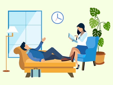 A man at a reception at the psychologist. In minimalist style. Flat isometric vector illustration