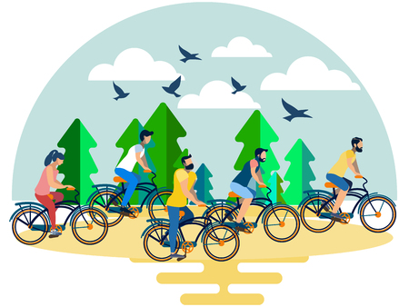 Friends, a group of people riding their bicycles in the forest. In minimalist style. Flat isometric vector