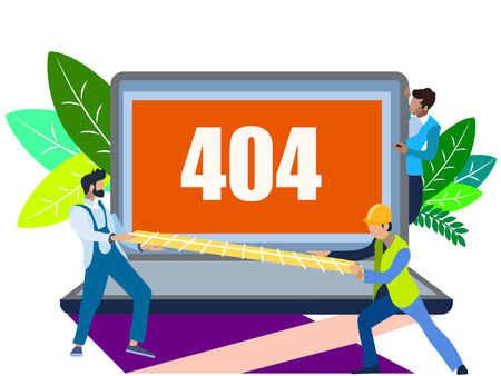 Error 404 screen. The server can not find data according to the request. In minimalist style. Flat isometric vector illustration