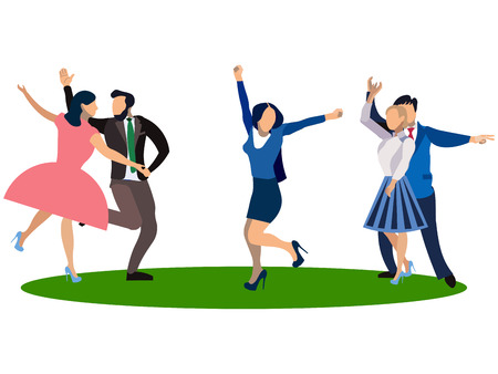 People dancing on a white background. In minimalist style. Flat isometric vector