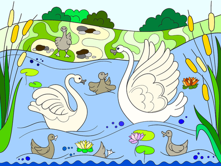 Childrens color book cartoon family of Swan on nature.