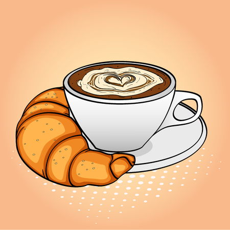 Pop art background, breakfast, coffee with cream and croissant. Raster
