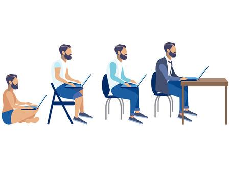 clip art programmer, employee, freelancer stages of development set, cartoon design, generation stages, vector illustration flat