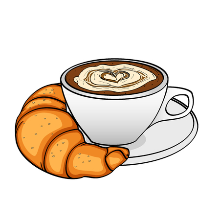 Object on white background, breakfast, coffee with cream and croissant. Raster