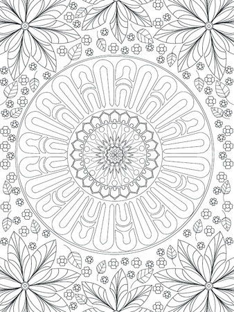 Background coloring antistress, drawings black lines and white background. Nature, flowers. Vector Illustration