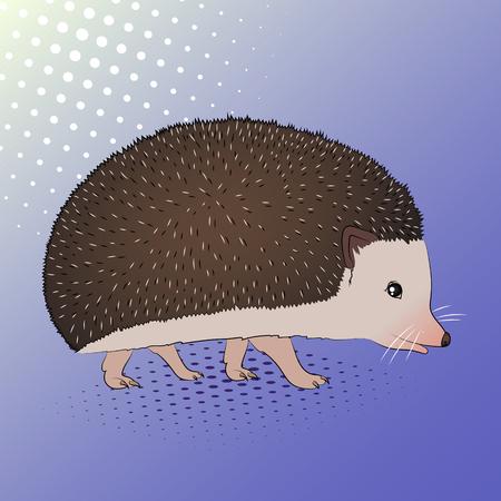 Prickly animal hedgehog. Pop art background. Imitation of comics style. Vector illustration Illustration