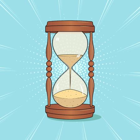 Hourglass, pop art background. Imitation of comics style. Vector Çizim