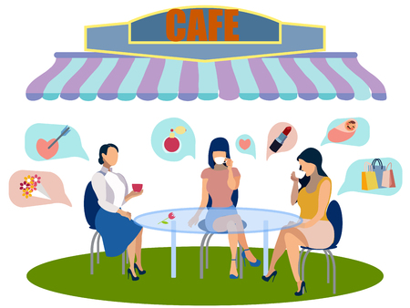 Girls rest in a cafe. Women talking points on a white background. In minimalist style. Flat isometric vector illustration
