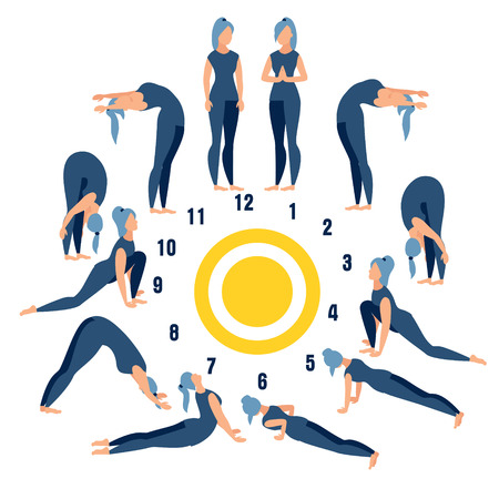 Salutation to the sun is a form of worship in Hinduism. Exercise or properly posture flat. In minimalist style. Cartoon Vector