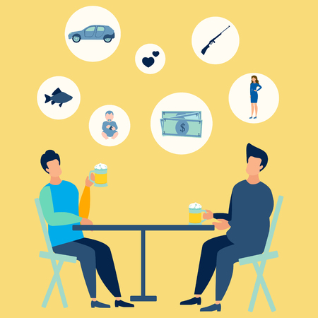 Friends at the bar drink beer. They talk on mens topics. In minimalist style. Flat isometric vector Archivio Fotografico - 118918597