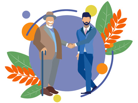 An old man shakes hands with a young guy. Old age and youth. In minimalist style. Flat isometric vector illustration