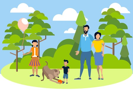 Family on holiday in the park with a dog. In minimalist style. Flat isometric vector illustration