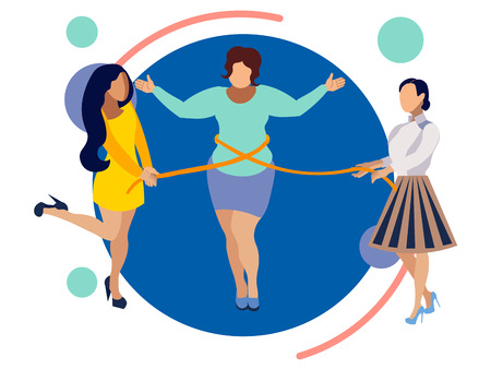 Thin friends help a woman to lose weight. In minimalist style. Flat isometric vector illustration Vectores
