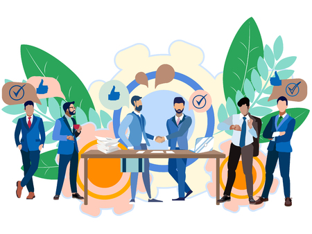 Business idea, negotiation. Contract signing, cooperation. In minimalist style. Flat isometric vector illustration