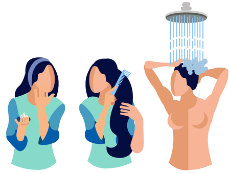 Woman caring for body, skin, hair. In minimalist style. Flat isometric vector Stock Illustratie