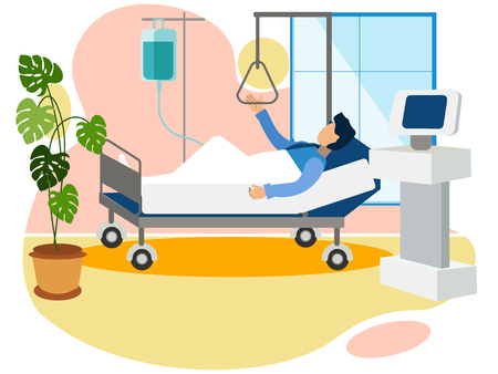 Cámara en el hospital, el hombre está en el departamento de trauma del hospital. De estilo minimalista. Ilustración vectorial isométrica plana
