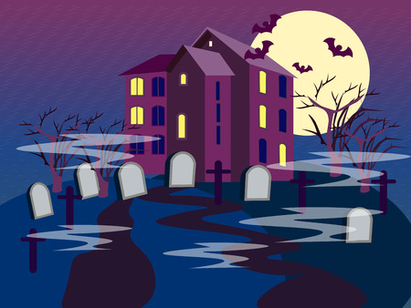The building of the cemetery. Graves on a dark background. In minimalist style. Flat isometric vector illustration 일러스트