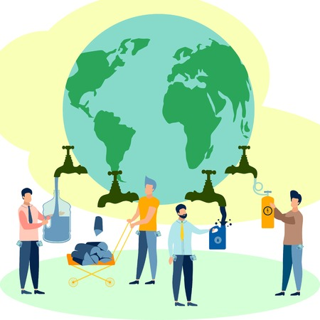 Theme of ecology, people take away all the resources of planet Earth. In minimalist style. Cartoon flat Vector