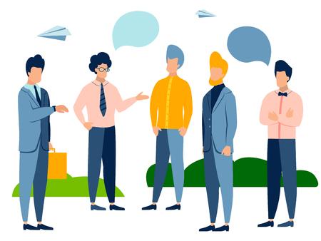 Five men are talking, dialogue. Text bubble. In minimalist style. Cartoon flat Vector Illustration Stock Illustratie