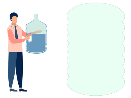 A man, a water delivery officer. Text bubble. In minimalist style. Cartoon flat Vector Illustration