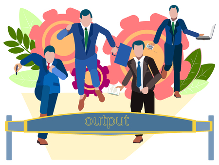Output. Office staff run to the weekend. In minimalist style. Cartoon flat Vector Illustration 写真素材 - 124713910