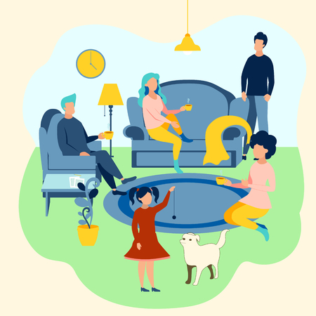 Family atmosphere. Home furnishings, family assembled. In minimalist style. Cartoon flat Vector