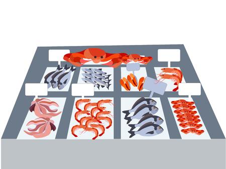 Seafood, proper nutrition, fresh produce. In minimalist style Cartoon flat Vector Illustration Illustration