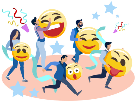 People run with smiles in their hands. In minimalist style Cartoon flat Vector Illustration