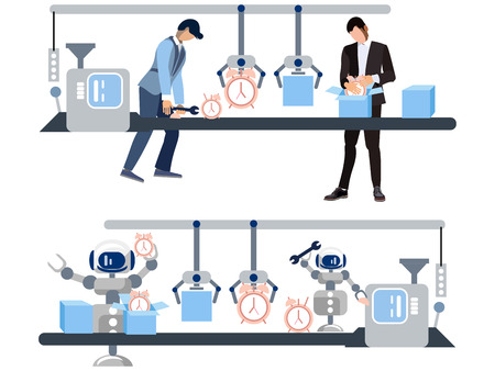 Watch production. The difference is the attitude of people and robots to work. In minimalist style Cartoon flat Vector Illustration 일러스트