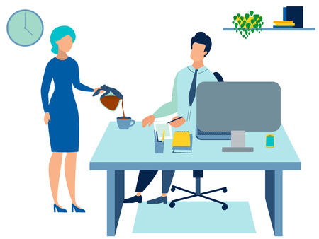 Secretary pours coffee to the boss. In minimalist style Cartoon flat Vector