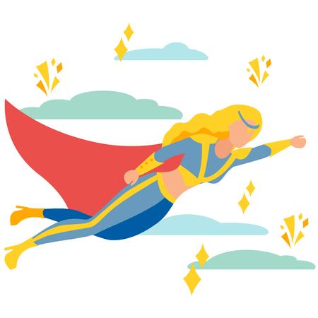 Woman superhero to the rescue. In minimalist style Cartoon flat Vector Illustration