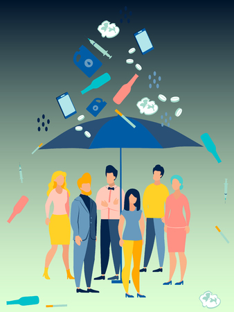Ecological problem. People are hiding under an umbrella from bad habits. In minimalist style Cartoon flat Vector Illustration