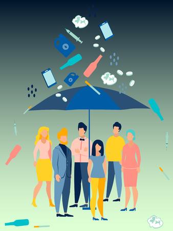 Problema ecológico. La gente se esconde bajo un paraguas de los malos hábitos. En estilo minimalista Dibujos animados ilustración vectorial plana