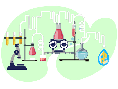 Business chemistry, chemical reaction profits. In minimalist style Cartoon flat Vector Illustration