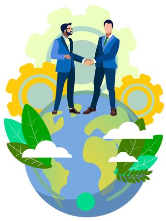 Handshake of world business partners on planet Earth. In minimalist style Cartoon flat Vector Illustration