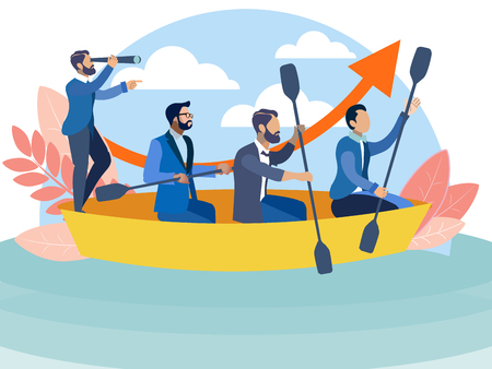 Office staff sailing in the same boat to the goal. In minimalist style Cartoon flat Vector Illustration