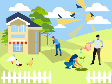 Weekend at the cottage, agronomy. The family works in the garden. In minimalist style Cartoon flat Vector