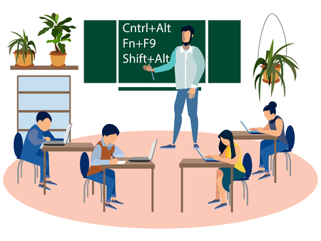 Education programmers, computer science lesson. Children at school. In minimalist style Cartoon flat Vector Vector Illustration