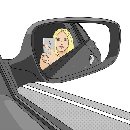 A young girl, a blonde is making a selfie photo in the mirror of a side view of a car. Raster On a white background