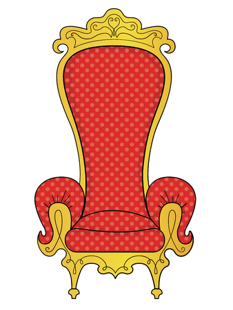 isolated on white background. The object of the interior, the throne of the king. Raster
