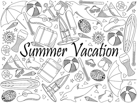 Line art objects on a white background. Theme of travel, summer vacation. Raster over white background