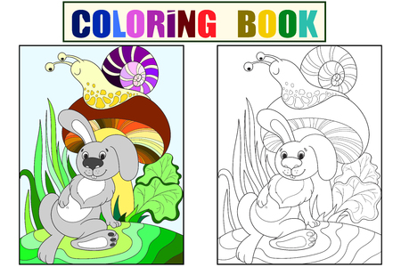 Childrens color and coloring cartoon animal friends in nature. Rabbit under a mushroom and snail
