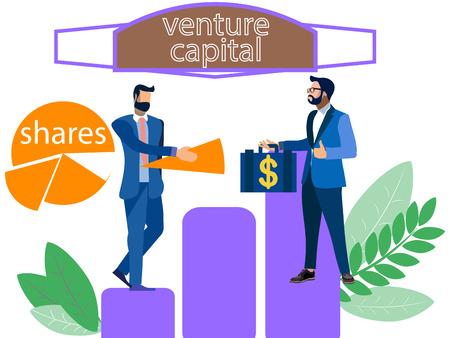 Anteile. Verkauf eines Teils des Unternehmens an den Investor. Im minimalistischen Stil Cartoon flache Vektor-Illustration Vektorgrafik
