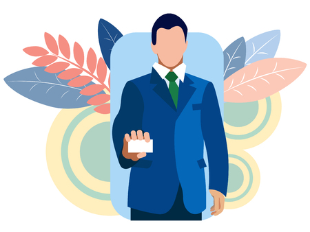 Businessman shows a business card, holds in his hand. In minimalist style Cartoon flat Vector