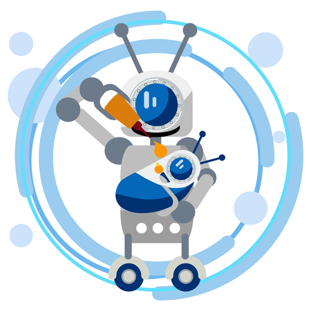 Mother robot feeds the baby with oil for equipment. In minimalist style. Flat isometric vector 向量圖像