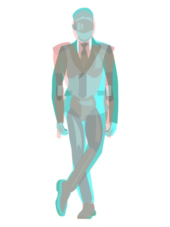 Anaglyph 3D male businessman and robot. In minimalist style Cartoon flat Vector Illustration