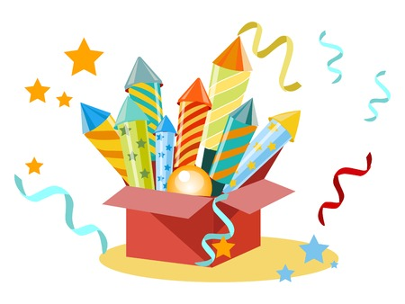 Box with fireworks, firecrackers. Set for the holiday. In minimalist style. Flat isometric vector illustration Vettoriali